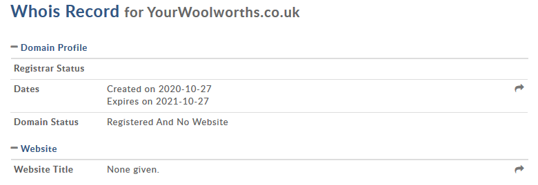 Screenshot_2020-10-27 YourWoolworths co uk WHOIS, DNS, Domain Info - DomainTools
