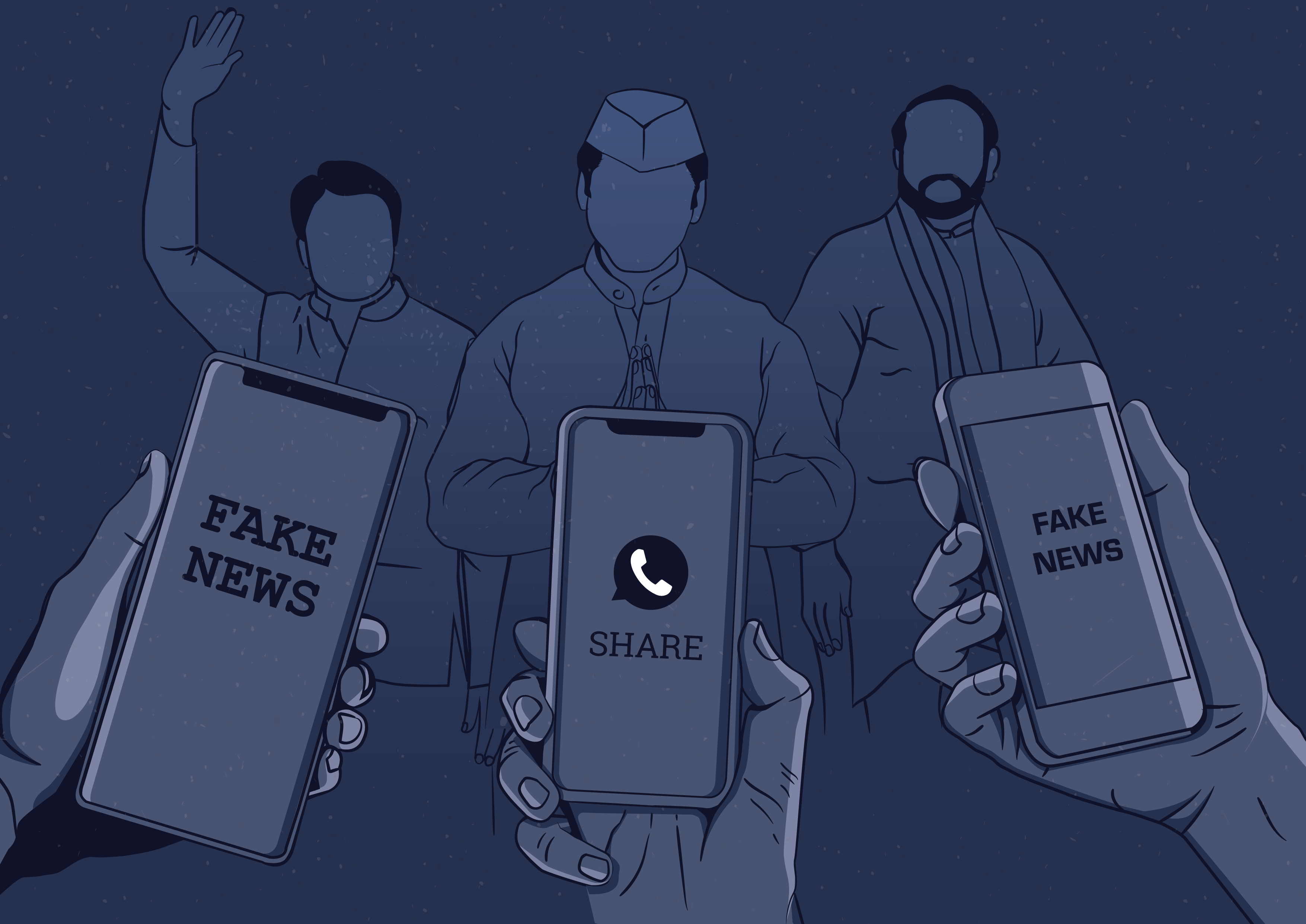 A drawn image of people in India holding mobile phones with fake news and share on the screens
