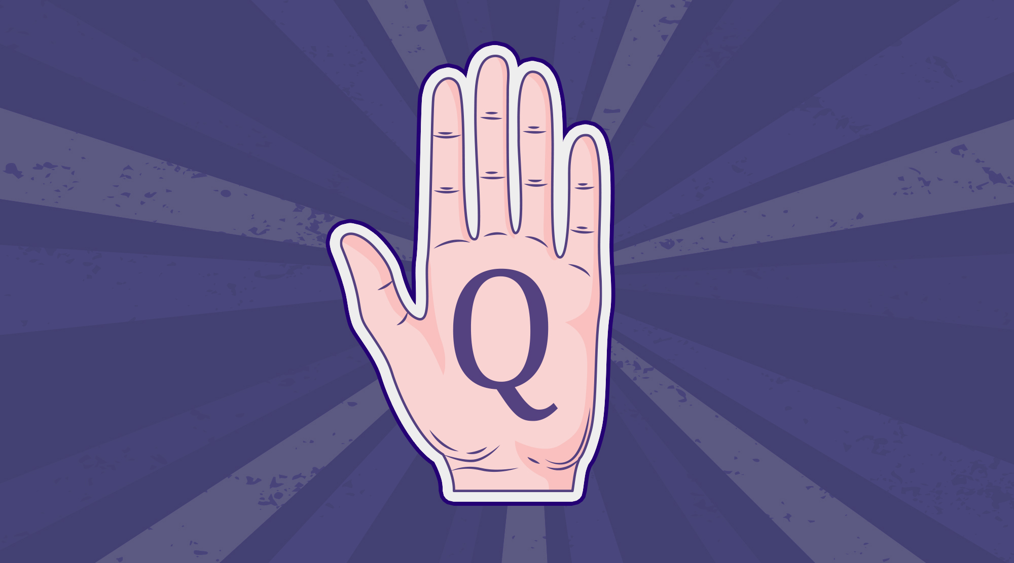 A palm showing the letter 'Q'