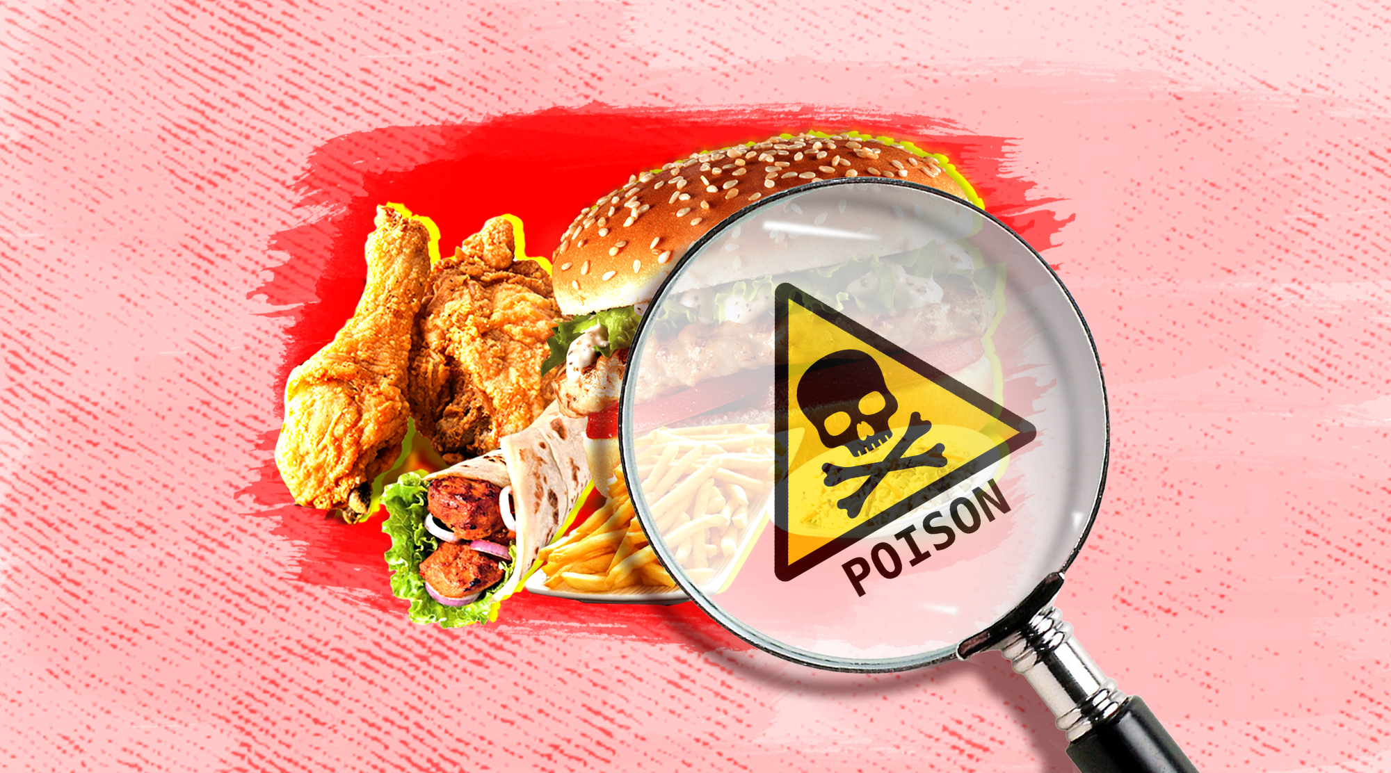 Image contains magnifying glass inspecting fast food and a poison symbol